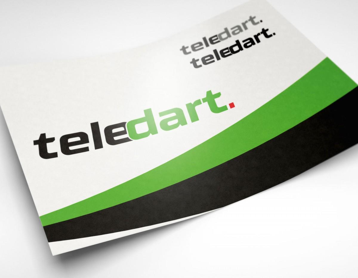 Das Logo von Teledart in verschiedenen Darstellungformen
