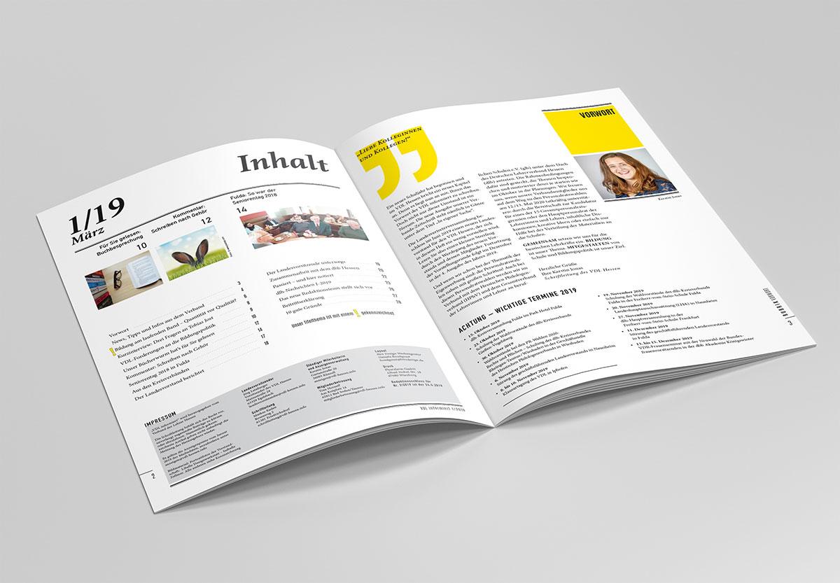 Magazin-Layout für den Lehrer-Verband